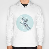 skiing Hoodies featuring Skiing Slalom Circle Etching by patrimonio