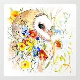 barn owl and flowers floral owl decor artwork Art Print