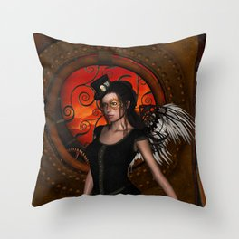 Wonderful steampunk lady with wings and hat Throw Pillow