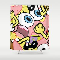 spongebob Shower Curtains featuring Spongebob by Startled Artist