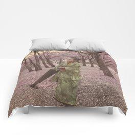 Geisha among Cherry Blossom trees Comforters