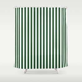 Original Forest Green and White Rustic Vertical Tent Stripes Shower Curtain
