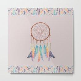 Gypsy Dreams Dreamcatcher on Rose with Gypsy Dreams Trim Metal Print