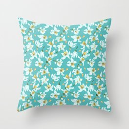 Citrus blooming tiny flowers in a sky blue backgrund Throw Pillow