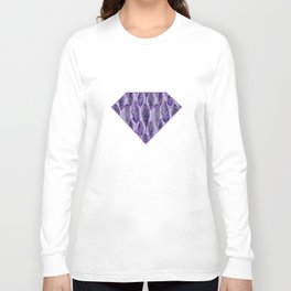 Ultraviolet Glitter Feather Pattern Long Sleeve T-shirt