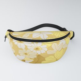 Yellow, Ivory & Brown Retro Flowers Fanny Pack