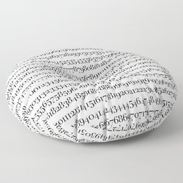 All The Numbers - White Floor Pillow