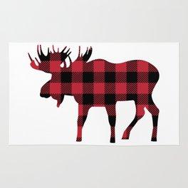 Moose Silhouette in Buffalo Plaid Rug