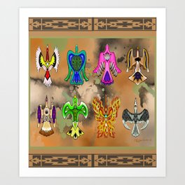 "Native American Waterbirds ""Of All Color"" Art Print"
