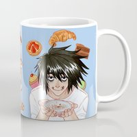 death note Mugs featuring L from Death Note by Naineuh