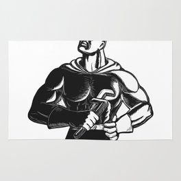 Superhero Plumber With Wrench Woodcut Rug