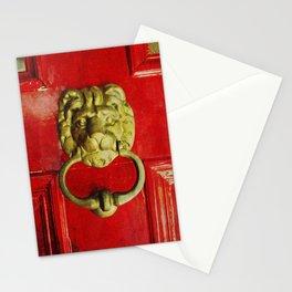 Gold Lion Door Knocker on Red Door Stationery Cards