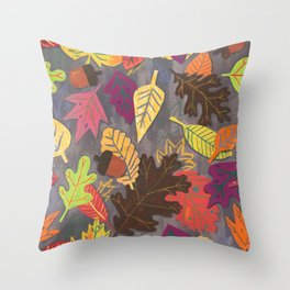 Autumn Leaves Pattern Throw Pillow