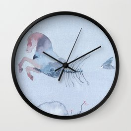 Hippocampus - Horse fish tail - Watercolor Wall Clock