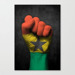 Ghana Flag on a Raised Clenched Fist Canvas Print