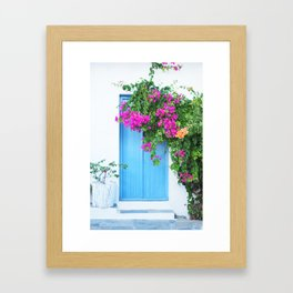 249. Flowers Door, Greece Framed Art Print