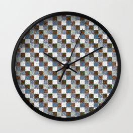 Rustic Brown Gray Blue Patchwork Wall Clock