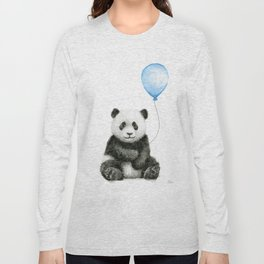 Panda Baby Animal with Blue Balloon Long Sleeve T-shirt