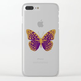 Purple Butterfly Clear iPhone Case