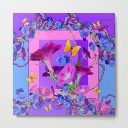 BUTTERFLIES & PURPLE-BLUE MORNING GLORY VINES  PINK VINETTE Metal Print