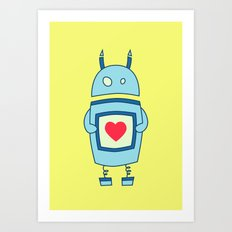 Cute Clumsy Robot With Heart Art Print