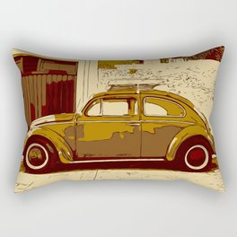 Beetle in front of wall and garage Rectangular Pillow