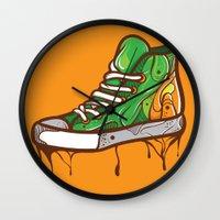 sneaker Wall Clocks featuring Green Sneaker by ArievSoeharto