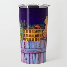 Night Cats Under City Stars Travel Mug