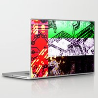 arab Laptop & iPad Skins featuring circuit board united arab emirates (flag) by seb mcnulty