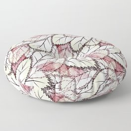 Delicate openwork leaves on a white , light brown background. Floor Pillow