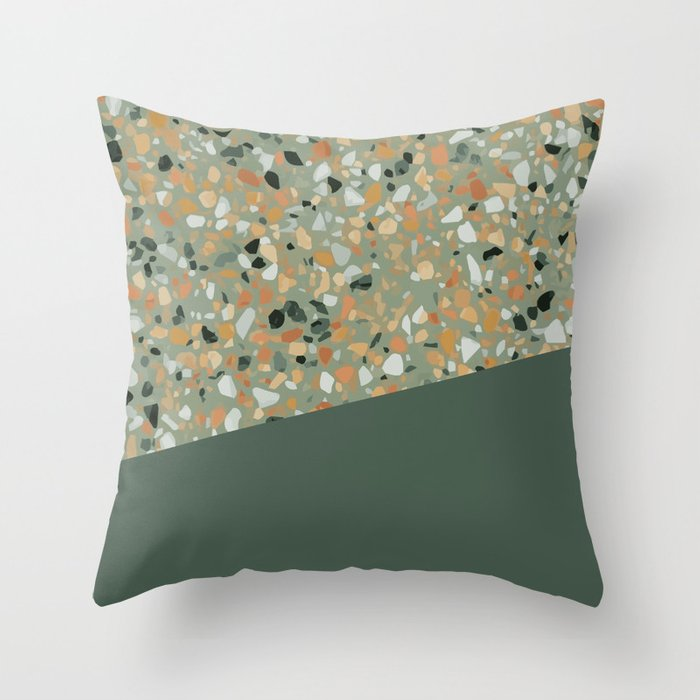 Terrazzo Texture Military Green 4 Throw Pillow