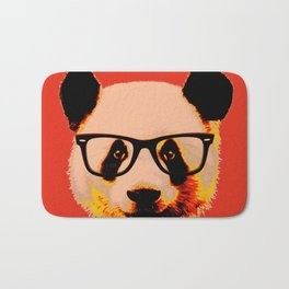 Panda with Nerd Glasses in Red Bath Mat