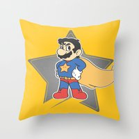 super mario Throw Pillows featuring Super Mario by tshirtsz