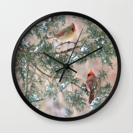 Winter Pair Cardinals (v) Wall Clock