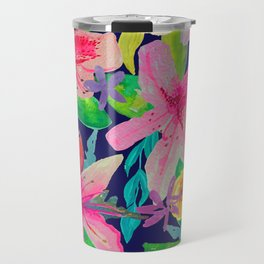 Neon Azeleas // Navy Travel Mug