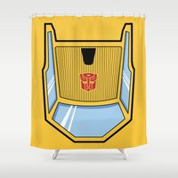 transformers Shower Curtains featuring Transformers - Sunstreaker by CaptainLaserBeam