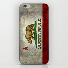 Californian flag the Bear flag in retro grunge iPhone Skin