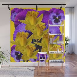 YELLOW DAFFODILS AGAINST PURPLE PANSIES Wall Mural