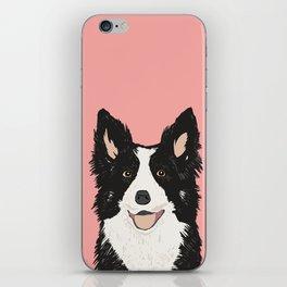 Border Collie pet portrait pink background dog lover art gifts iPhone Skin