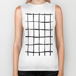 Black white hand drawn geometric abstract random stripes Biker Tank