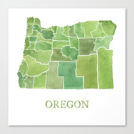Oregon Counties watercolor map Canvas Print