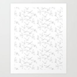 flock - linear birds pattern Art Print