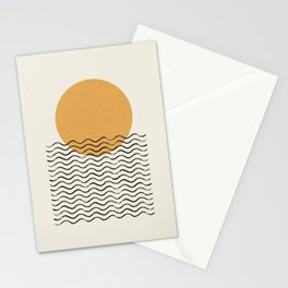 Ocean wave gold sunrise - mid century style Stationery Cards