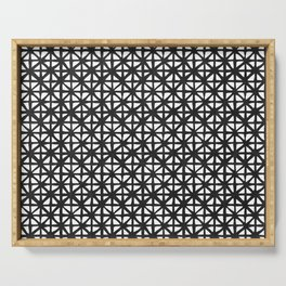 Carved Grid in Black and White Serving Tray