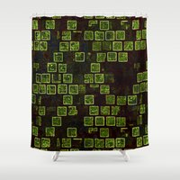 sonic Shower Curtains featuring Sonic Tiles by CirnitskiDesign