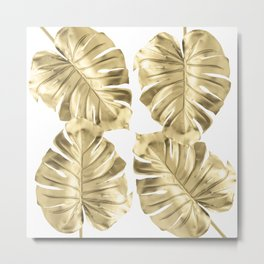 Monstera Gold Metal Print