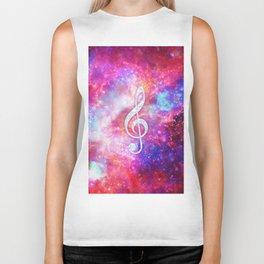 Galaxy Nebula Glitter Music Note Pink Space Biker Tank