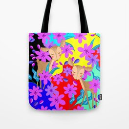 Cute wild sweet little baby deer fawns lost in the forest of delicate pink flowers colorful design Tote Bag