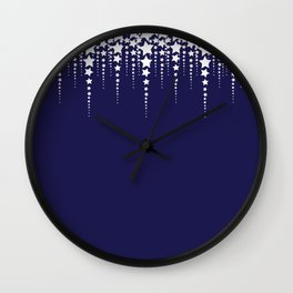 Falling Stars on Dark Blue Sky - Christmas Illustration Wall Clock