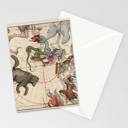Pictorial Celestial Map with Constellations Ursa Major and Ursa Minor Stationery Cards